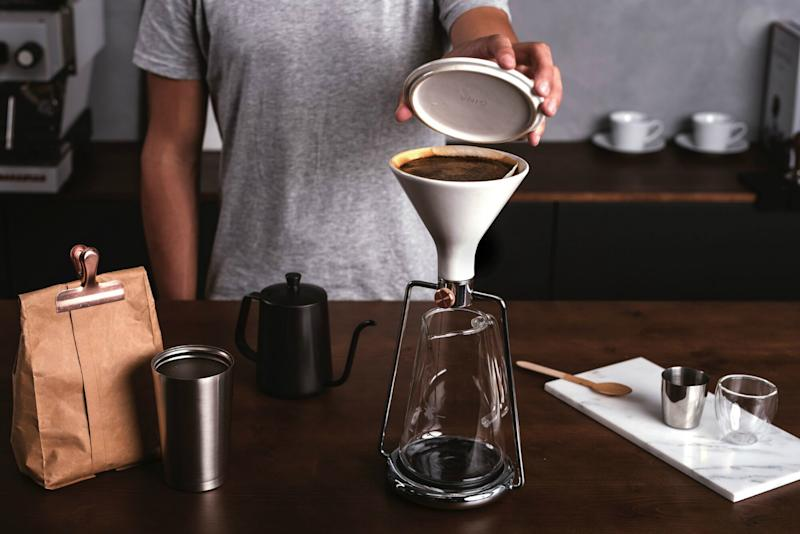 This smart coffee maker can brew 3 different ways, and has a built-in scale