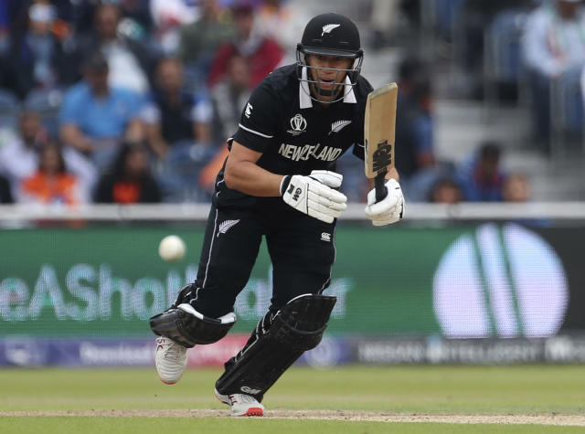 New Zealand's Ross Taylor bats during the Cricket World Cup semi-final match between India and New Zealand at Old Trafford in Manchester, England, Tuesday, July 9, 2019. (AP Photo/Aijaz Rahi)