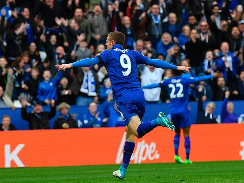 Jamie Vardy celebrates scoring Leicester's second: Getty