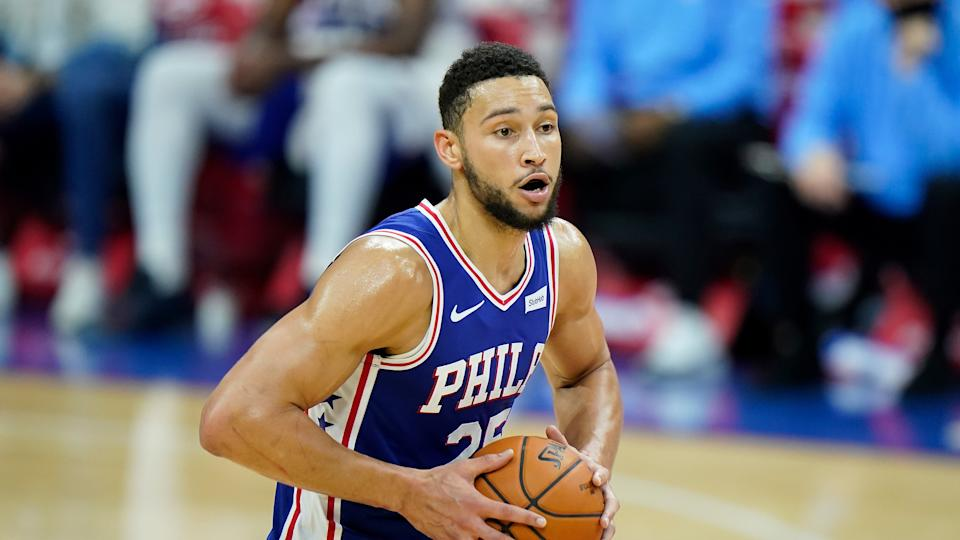 Philadelphia 76ers' Ben Simmons plays during an NBA game against the Charlotte Hornets.