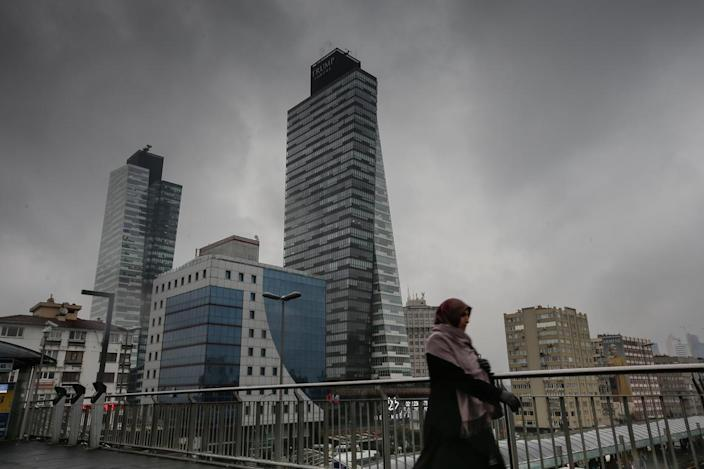The conjoined Trump Towers are seen in Istanbul in 2015.