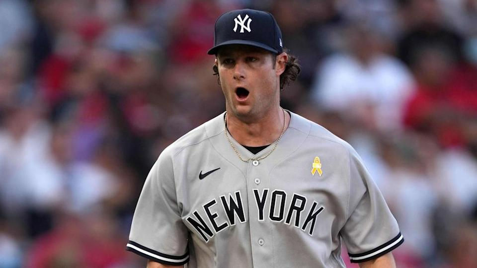 Gerrit Cole fired up mouth open road uniform yellow ribbon Angels