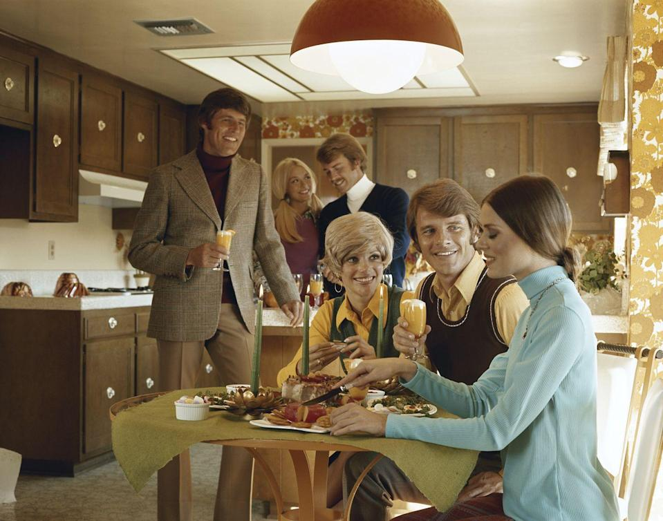 <p>Glass pendant lamps with those outrageously gigantic globes were the height of home kitchen fashion in the 70s, especially if they were orange. </p>