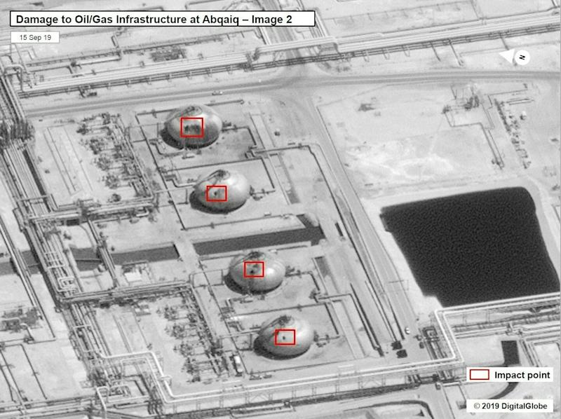 Satellite image issued by the US government showing damage to the oil installation at Abqaiq in Saudi Arabia: AFP/Getty Images