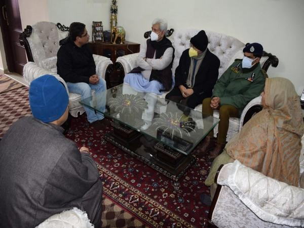 J-K Lieutenant Governor Manoj Sinha visited the family of a slain goldsmith, who was killed by terrorists at his shop at Srinagar.