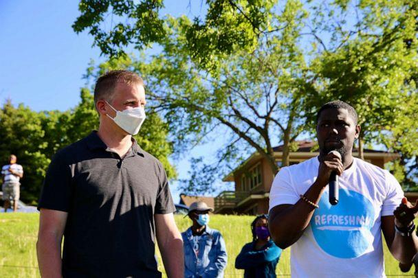PHOTO: Pastor W. Seth Martin speaks alongside another local pastor at a prayer unity event in Phelps Park in Minneapolis, Minn. on May 30, 2020. (The Brook Community Church)