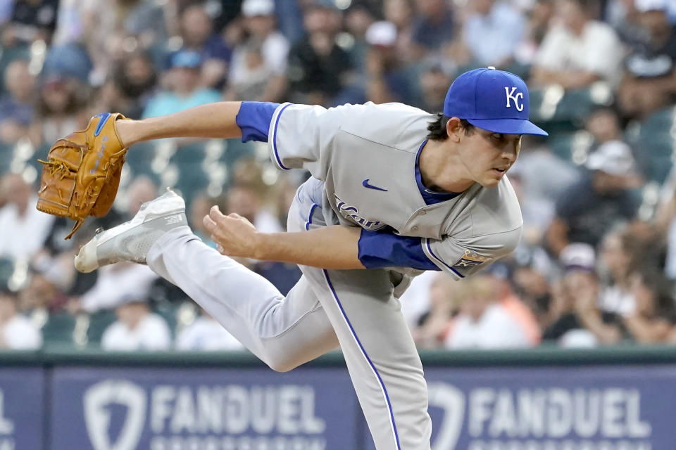 Kansas City Royals starting pitcher Daniel Lynch follows through during the first inning of a baseball game against the Chicago White Sox Thursday, Aug. 5, 2021, in Chicago. (AP Photo/Charles Rex Arbogast)