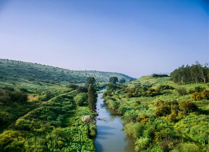 An aerial view of the Jordan River, which lies about 30km (20mi) East of Jerusalem and flows from north of the Sea of Galilee to the Dead Sea.