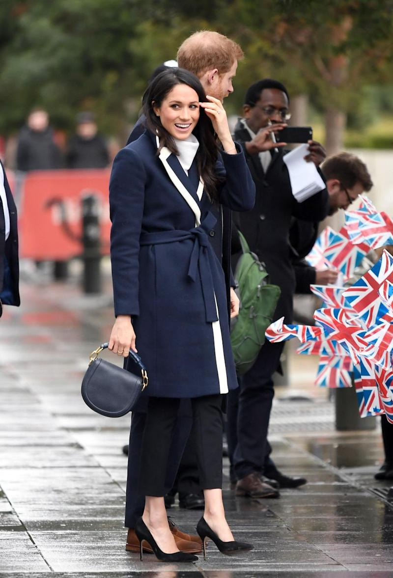 Meghan Markle's gorgeous navy and white coat from J. Crew has already sold out, but there was a little glitch some of us didn't notice at first. Source: Getty Images