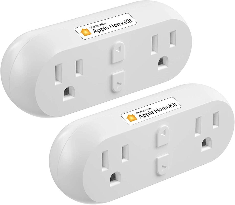 <p>The <span>Meross Smart Plug Dual WiFi Outlet Plug 2 Pack</span> ($34) works with Alexa, Google, and Siri. You get two outlets for the space of one with these!</p>