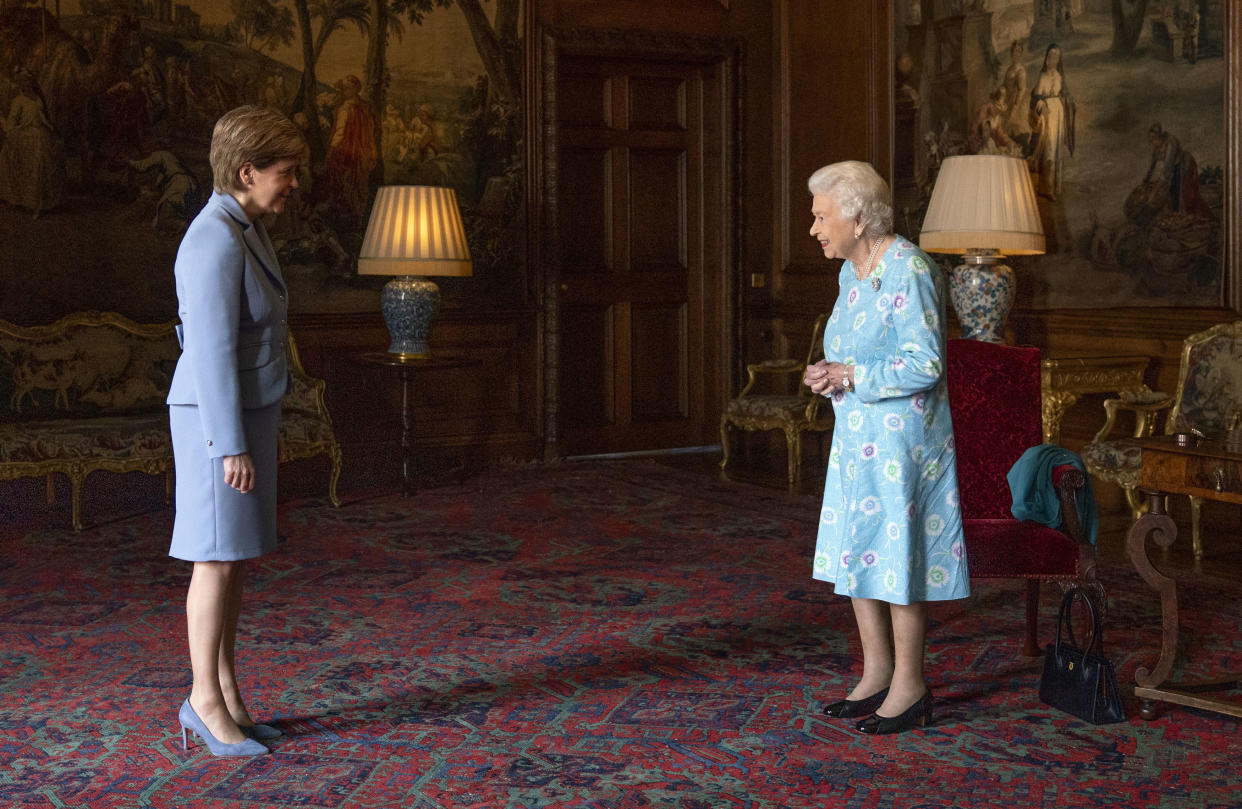 EDINBURGH, SCOTLAND - JUNE 29: Queen Elizabeth II receives First Minister of Scotland Nicola Sturgeon during an audience at the Palace of Holyroodhouse on June 29, 2021 in Edinburgh, Scotland.  The Queen is visiting Scotland for Royal Week between Monday 28th June and Thursday 1st July 2021. (Photo by Jane Barlow - WPA Pool/Getty Images)