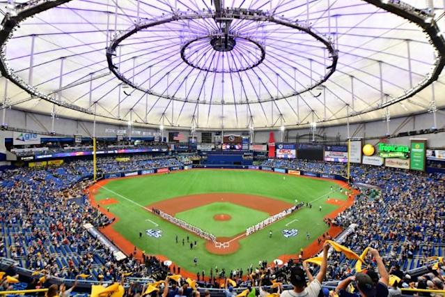 Tropicana Field, where the Tampa Bay Rays hosted the Houston Astros in last season's MLB playoffs. Florida governor Ron DeSantis says his state is ready to welcome any pro sports teams resuming play after COVID-19 shut-downs (AFP Photo/Julio Aguilar)