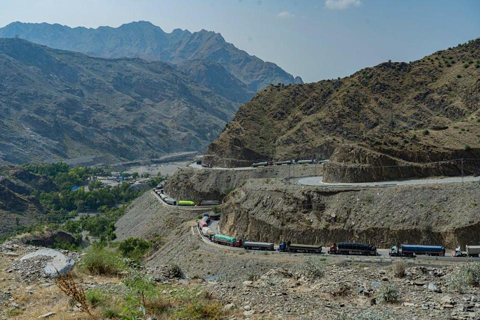 The Khyber pass where in the past containers of supplies were frequently attacked (Bel Trew)