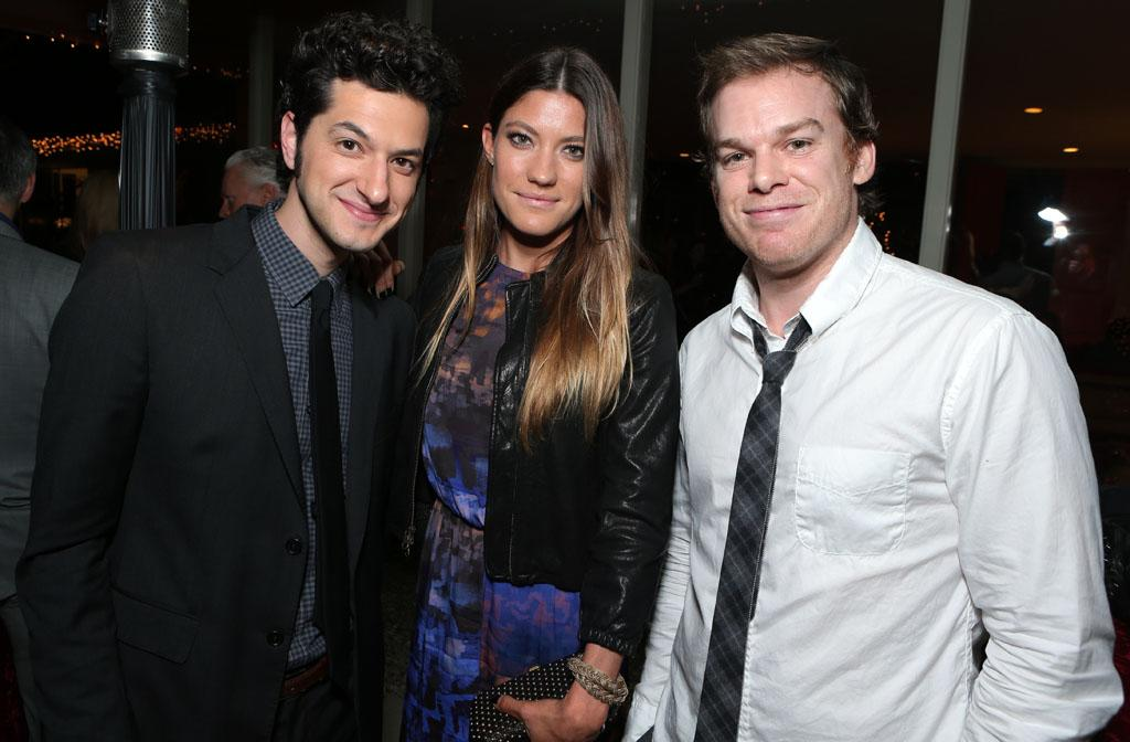 Ben Schwartz, Jennifer Carpenter and Michael C. Hall at Showtime's 7th Annual Holiday Soiree on December 3, 2012 in Beverly Hills, California.