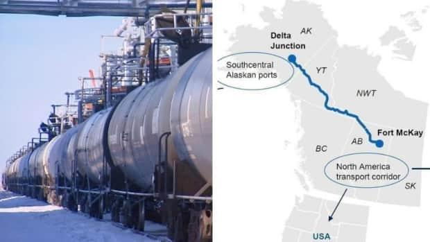 A2A Rail, a company pledging to build a freight railway connecting Alaska and Alberta, has filed for creditor protection after its main lender went into receivership. An Ontario securities commission investigation found financial irregularities surrounding the lender and A2A Rail's Winnipeg founder. (CBC, CNW Group/Alaska-Alberta Railway Development Corporation - image credit)