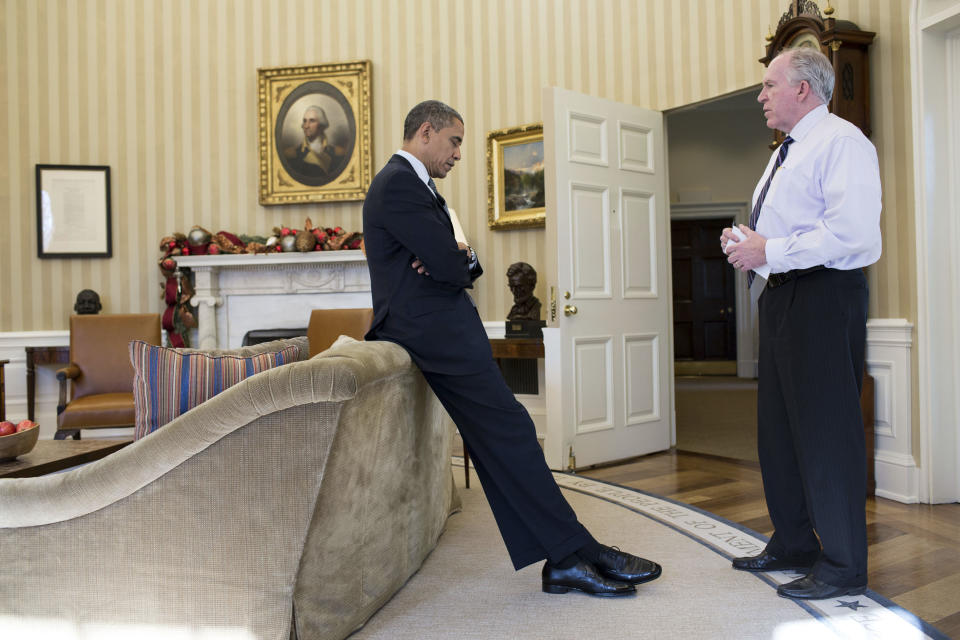"""President Barack Obama reacts as Counterterrorism chief and adviser John Brennan briefs him at the White House on the details of the shootings at Sandy Hook Elementary School in Newtown, Connecticut, December 14, 2012, in this White House handout photo released January 4, 2013. The president later said during a television interview that this was """"the worst day of his Presidency."""" REUTERS/Peter Souza/Official White House Photo/Handout  (UNITED STATES - Tags: CRIME LAW POLITICS TPX IMAGES OF THE DAY) FOR EDITORIAL USE ONLY. NOT FOR SALE FOR MARKETING OR ADVERTISING CAMPAIGNS. THIS IMAGE HAS BEEN SUPPLIED BY A THIRD PARTY. IT IS DISTRIBUTED, EXACTLY AS RECEIVED BY REUTERS, AS A SERVICE TO CLIENTS"""