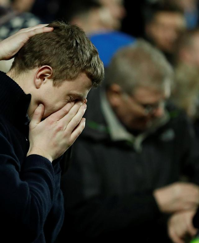 Soccer Football - FA Cup Fourth Round - Milton Keynes Dons vs Coventry City - Stadium MK, Milton Keynes, Britain - January 27, 2018 Coventry fan reacts Action Images/Andrew Boyers