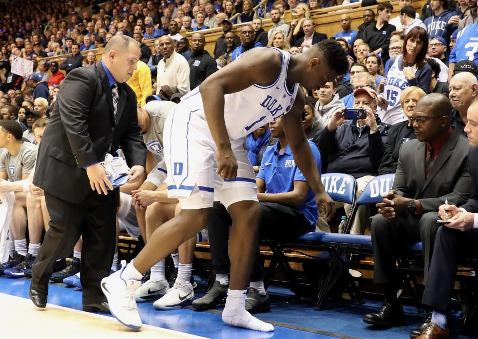 Zion Williamson's injury drew well wishes, anger at the NCAA and one poorly-crafted response from a former Blue Devil on Twitter. (Getty
