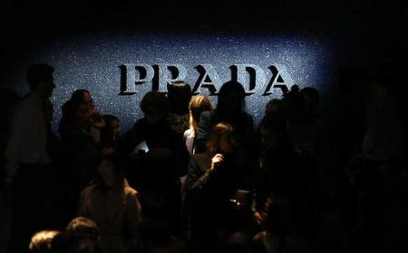 The Prada logo is pictured during the showcase of the Autumn/Winter 2014 collection at Milan Fashion Week