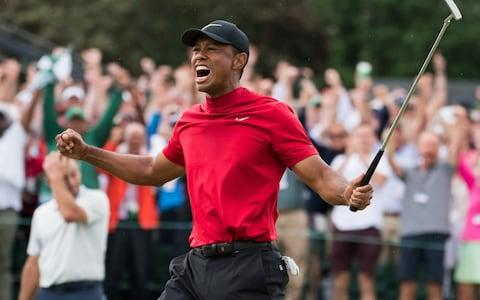 <span>Tiger Woods celebrates Masters victory</span> <span>Credit: Barcroft Media </span>