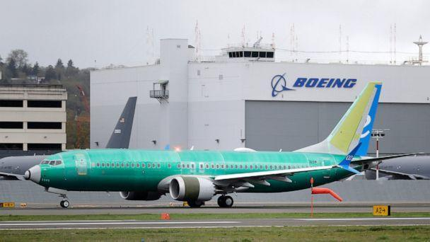 PHOTO: A Boeing 737 MAX 8 airplane being built for Spain-based Air Europa rolls toward takeoff before a test flight, Wednesday, April 10, 2019, at Boeing Field in Seattle. (AP Photo/Ted S. Warren)