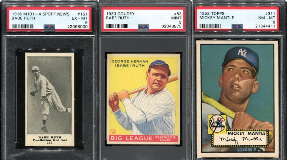 Three of the most valuable items in Dr. Thomas Newman's collection are (from left) a 1916 Sporting News Babe Ruth rookie card, a 1933 Goudey Babe Ruth card and a 1952 Topps Mickey Mantle card.