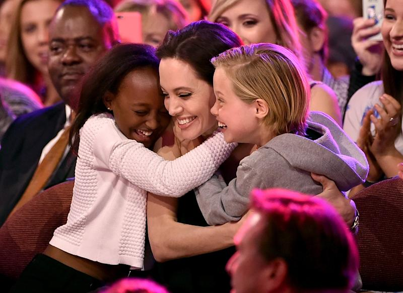 Angelina Jolie with her children Zahara and Shiloh (Getty Images)