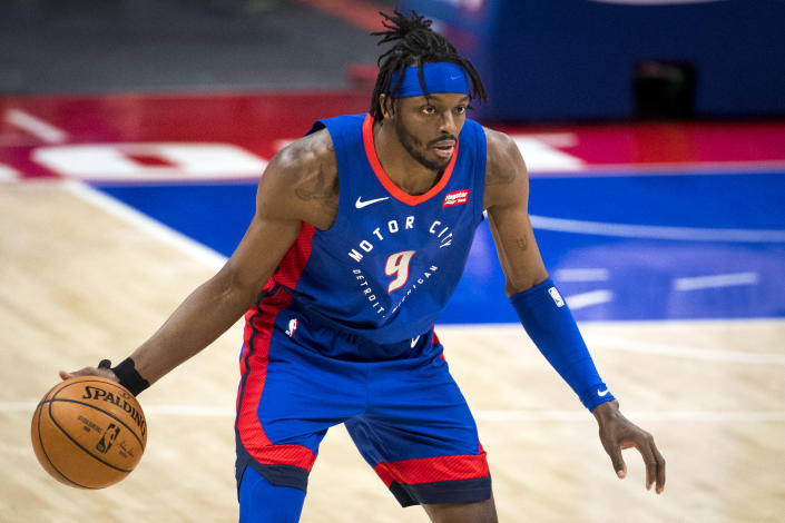Jerami Grant #9 of the Detroit Pistons dribbles the ball against the San Antonio Spurs during the first quarter of the NBA game at Little Caesars Arena on March 15, 2021 in Detroit, Michigan. NOTE TO USER: User expressly acknowledges and agrees that, by downloading and or using this photograph, User is consenting to the terms and conditions of the Getty Images License Agreement. (Photo by Nic Antaya/Getty Images)