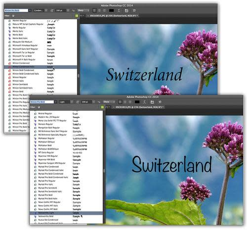 Screenshot of the word 'Switzerland' in two fonts