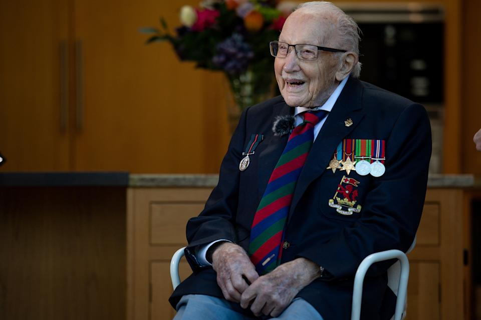 Captain Sir Tom Moore has died after testing positive for COVID-19. (Photo by Jacob King/PA Images via Getty Images)