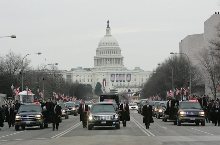 FILE - In this Thursday, Jan. 20, 2005 file photo, President George W. Bush's motorcade, heavily protected by U.S. Secret Service agents, moves up Pennsylvania Avenue from the U.S. Capitol, in background, towards the White House in Washington. The Secret Service has been tarnished by a prostitution scandal that erupted April 13, 2012 in Colombia involving 12 Secret Service agents, officers and supervisors and 12 more enlisted military personnel ahead of President Barack Obama's visit there for the Summit of the Americas. (AP Photo/Pablo Martinez Monsivais)