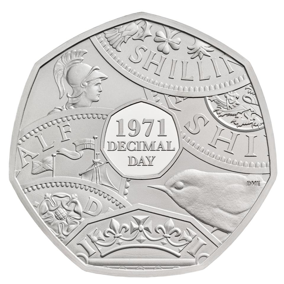 EMBARGOED TO 0001 MONDAY JANUARY 04 Undated handout photo issued by the Royal Mint of a 50p coin commemorating the 50th anniversary of Decimal Day which is part of a range of new designs that will be appearing on British coins throughout 2021.