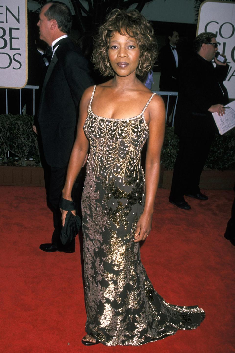 """<strong><h2>1998</h2></strong><br>What is it everyone says? Dress for the award you want? That's exactly what Alfre Woodard did in this statuesque bronze gown.<br><br><em>Alfre Woodard in a bronze dress. </em><span class=""""copyright"""">Photo: Ron Galella, Ltd./WireImage.</span>"""