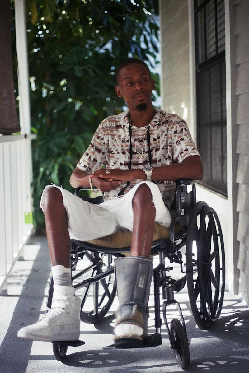 Florida shooting survivor Keinon Carter at his home in June 2017.   Joey Roulette