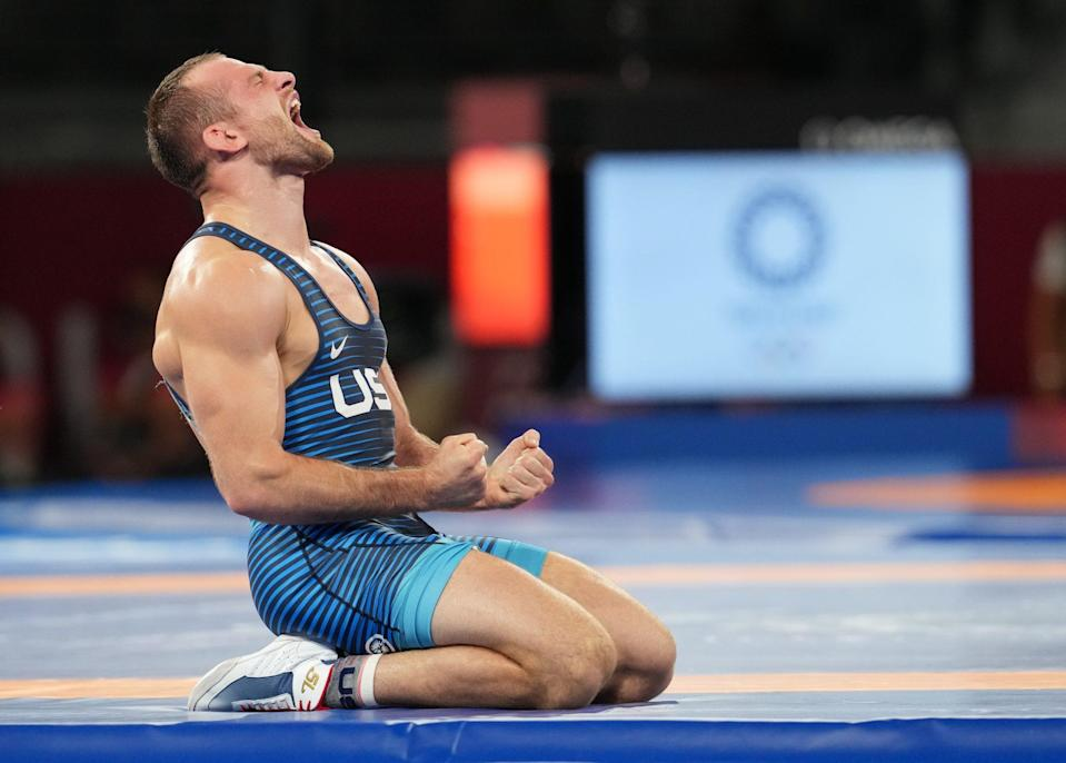 <p>USA's David Taylor wins gold against Hassan Yazdani of Iran during the Men's Freestyle 86kg wrestling final match on August 5.</p>