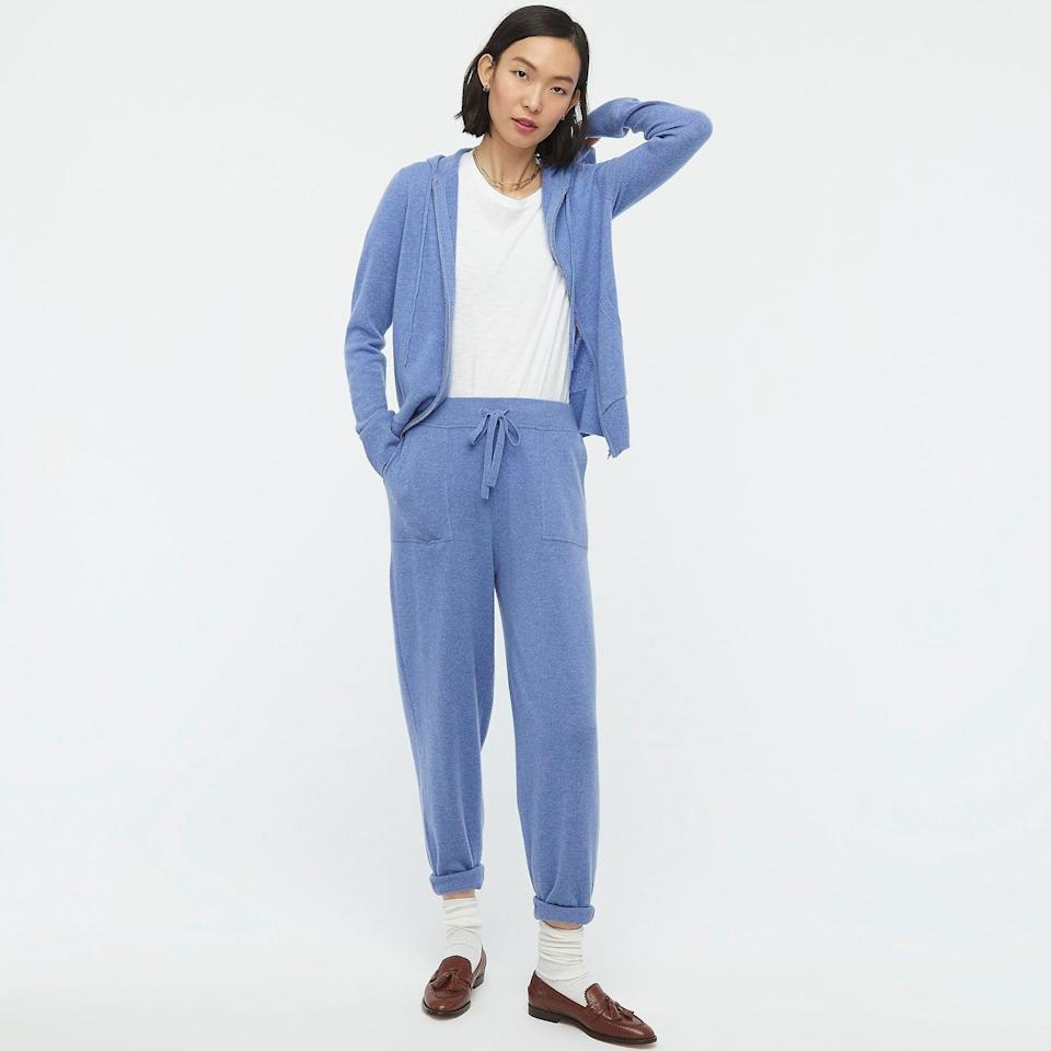<p>We love the blue shade of this <span>J.Crew Everyday Cashmere Zip-front Hoodie</span> ($168) and <span>Jogger Pant</span> ($198).</p>