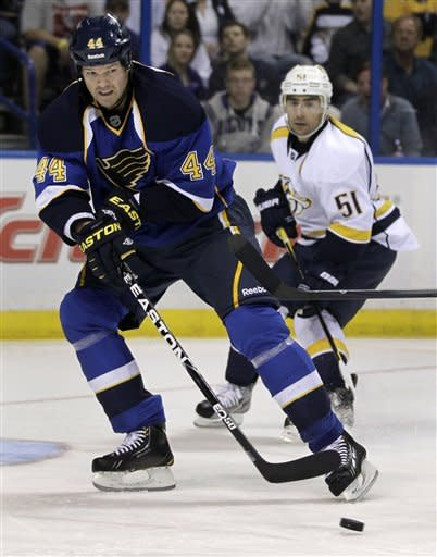 St. Louis Blues' Jason Arnott (44) passes the puck as Nashville Predators' Francis Bouillon watches during the second period of an NHL hockey game Tuesday, March 27, 2012, in St Louis. (AP Photo/Jeff Roberson)
