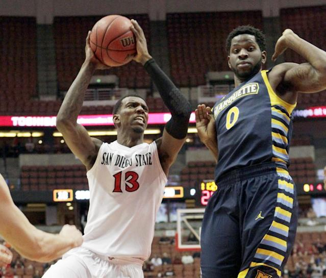 San Diego State forward Winston Shepard (13) shoots past Marquette forward Jamil Wilson (0) in the first half of an NCAA college basketball game at the Wooden Legacy tournament in Anaheim, Calif., Sunday, Dec. 1, 2013. (AP Photo/Reed Saxon)