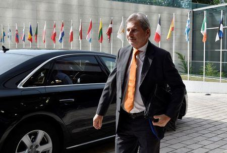 File photo: European Commissioner Hahn arrives for a European Union foreign ministers meeting in Luxembourg