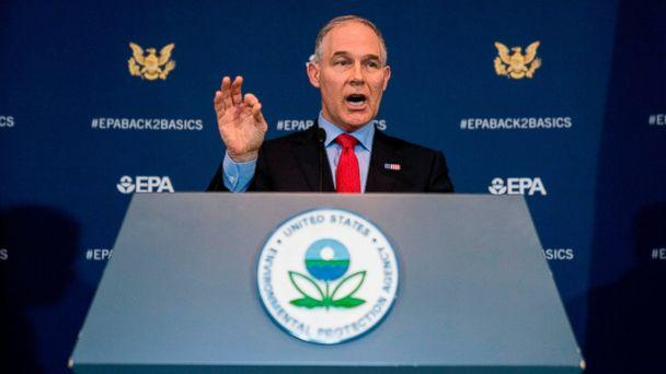 In this April 3, 2018, file photo, Environmental Protection Agency Administrator Scott Pruitt speaks at a news conference at the EPA in Washington. (AP)