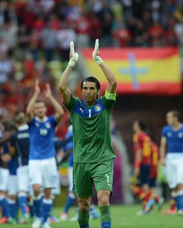 Italian goalkeeper Gianluigi Buffon applauds at the end of the Euro 2012 championships football match Spain vs Italy on June 10, 2012 at the Gdansk Arena. AFP PHOTO / CHRISTOF STACHECHRISTOF STACHE/AFP/GettyImages