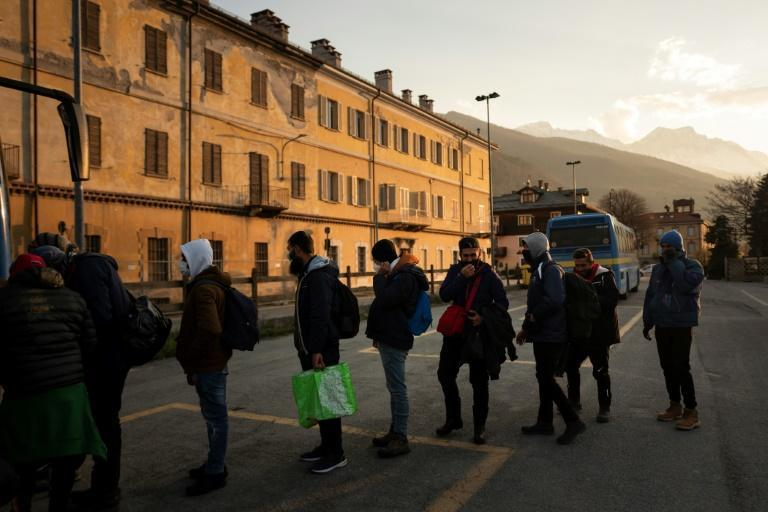Every evening, dozens of migrants take the bus from Oulx to the village of Claviere, where they wait until nightfall to try to walk the mountain paths to France