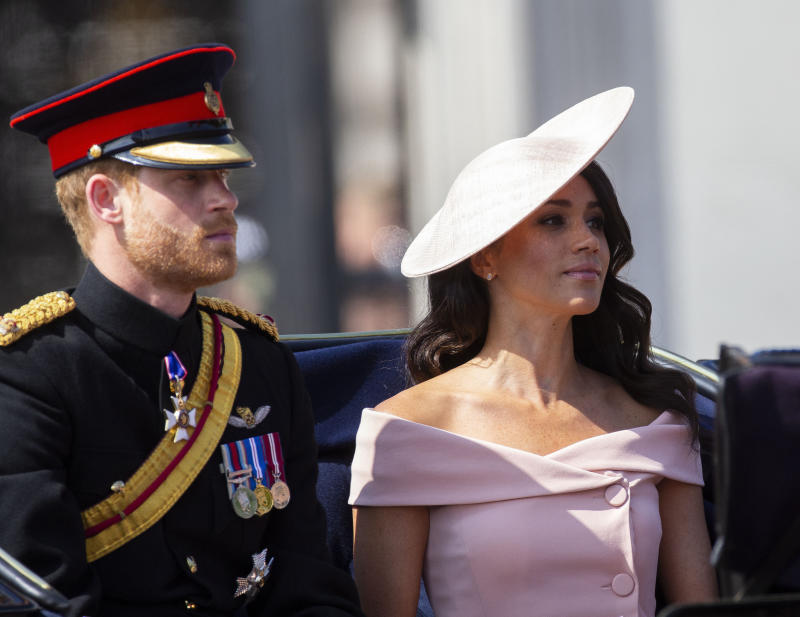 """January 20th 2020 - Buckingham Palace has announced that Prince Harry and Duchess Meghan will no longer use """"royal highness"""" titles and will not receive public money for their royal duties. Additionally, as part of the terms of surrendering their royal responsibilities, Harry and Meghan will repay the $3.1 million cost of taxpayers' money that was spent renovating Frogmore Cottage - their home near Windsor Castle. - January 9th 2020 - Prince Harry The Duke of Sussex and Duchess Meghan of Sussex intend to step back their duties and responsibilities as senior members of the British Royal Family. - File Photo by: zz/KGC-107/STAR MAX/IPx 2018 6/9/18 Prince Harry The Duke of Sussex, The Duchess of Sussex and members of The Royal Family at the Trooping The Colour ceremonies as The Queen marks her official birthday - including an inspection of the troops from the Household Division, the Horseguards Parade March in Whitehall and watching a fly-past from the balcony at Buckingham Palace. (London, England, UK)"""