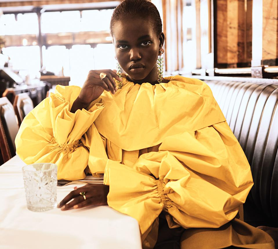 Model Adut Akech in a blouse from Valentino's fall 2018 haute couture collection.