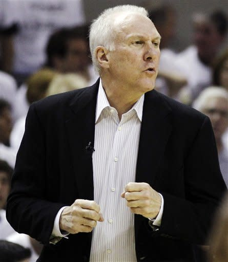 San Antonio Spurs head coach Gregg Popovich reacts to action against the Oklahoma City Thunder during the first half of Game 5 in the NBA basketball Western Conference finals, Monday, June 4, 2012, in San Antonio. (AP Photo/Eric Gay)