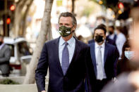 California Gov. Gavin Newsom leaves a news conference after announcing California Assemblyman Rob Bonta as his nominee for state's attorney general, Wednesday, March 24, 2021, in San Francisco. (AP Photo/Noah Berger)