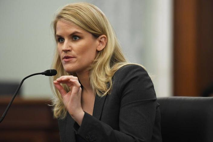 Whistleblower: Frances Haugen before the Senate Commerce, Science, and Transportation Subcommittee (Getty Images)