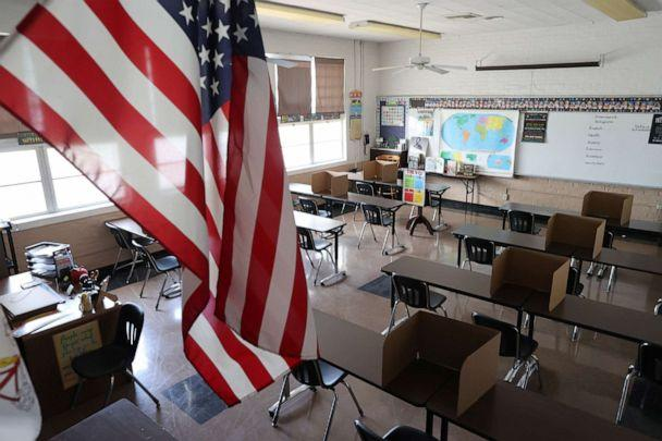 PHOTO: Social distancing dividers for students have been placed in a classroom at St. Benedict School, amid the outbreak of the coronavirus disease (COVID-19), in Montebello, near Los Angeles, July 14, 2020. (Lucy Nicholson/Reuters)