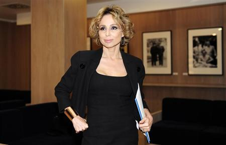 Marina Berlusconi poses before the shareholders meeting at Mondadori headquarters in Segrate