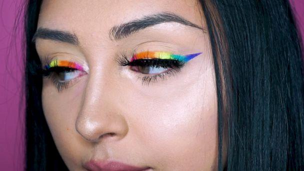 PHOTO: Show your pride with a gorgeous rainbow eyeliner look. (Sarah Salvini/Youtube)